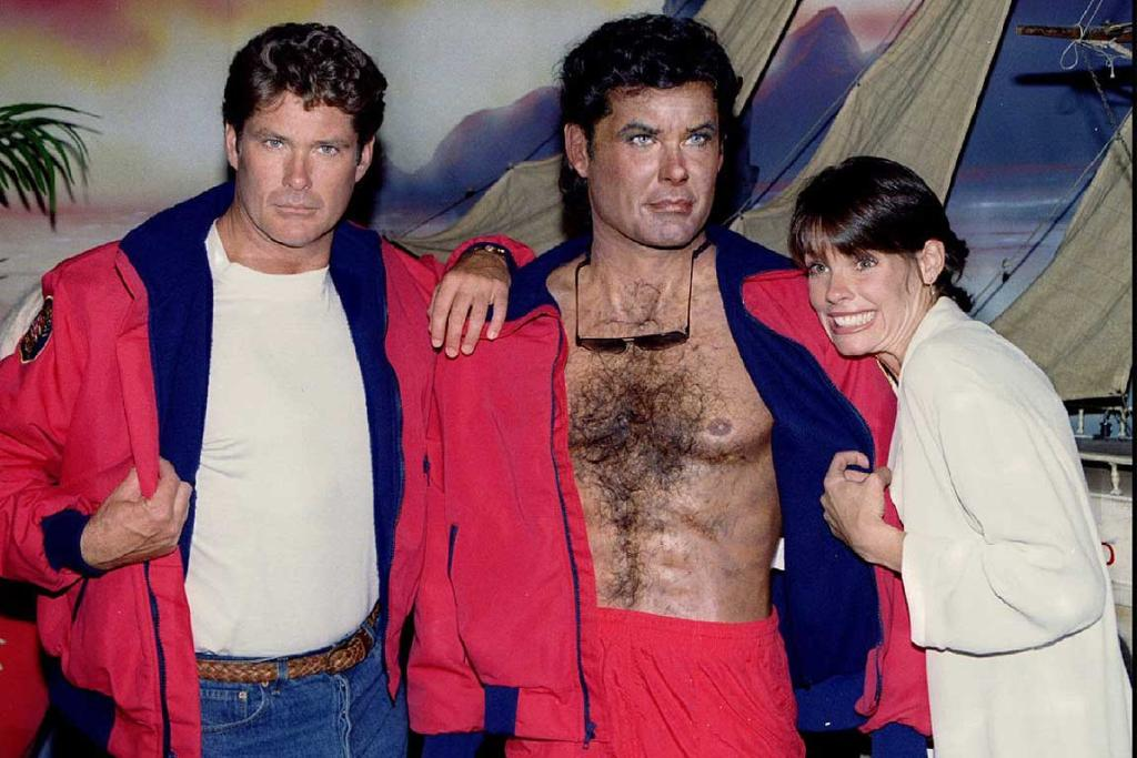 Not scary at all: David Hasselhoff with his likeness of Hasselhoff at the unveiling of a Baywatch exhibit in 1995