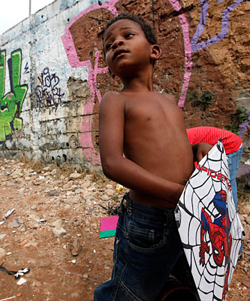 A boy in the slums of Sao Paulo