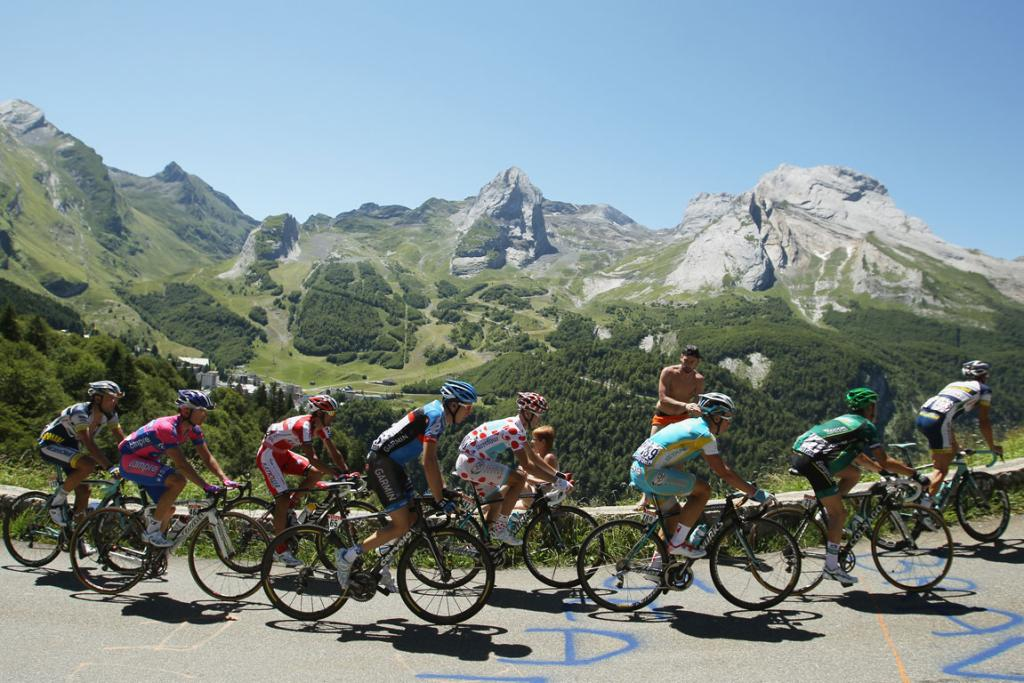 The peleton attacks a climb up Col d'Aubisque on the 16th stage of the Tour de France.