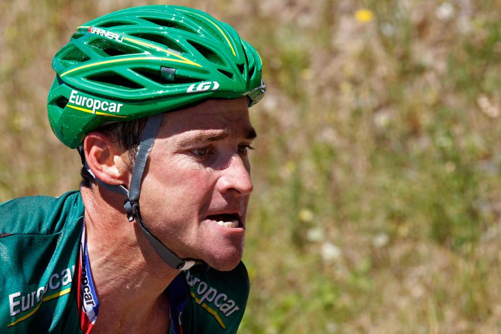 French rider Thomas Voeckler feels the heat on his way to winning stage 16 of the Tour de France.