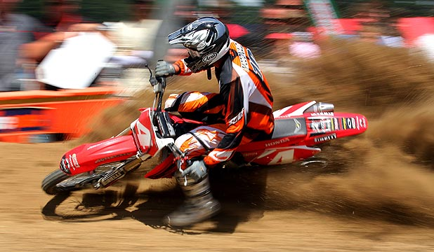 THE REAL DIRT: Justin McDonald rips into a corner during a race meeting in Woodville.