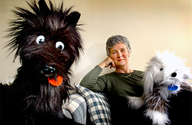 AUTHOR'S BEST FRIEND: Lynley Dodd with Kiwi dog icon Hairy McLeary and Muffin McClay on her knee.