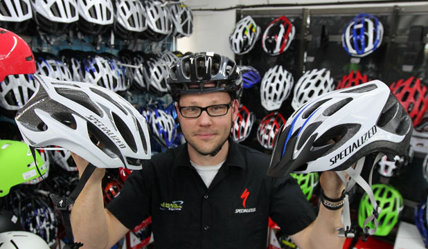 CYCLE STYLE: Jason Deuss, from Chain Reaction Cycles, says bike helmets needn't be old hat and, for the right money, 'awesome' lids are available.
