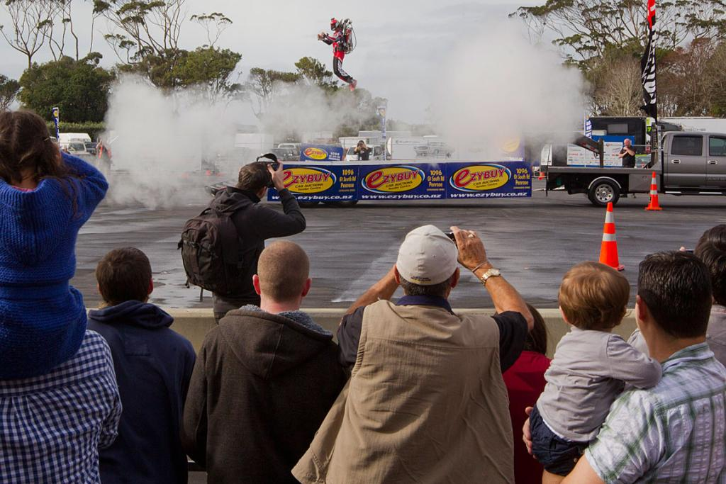 The Jetpack man launches skyward at the CRC Speedshow held at the ASB Showgrounds in Greenlane, Auckland.