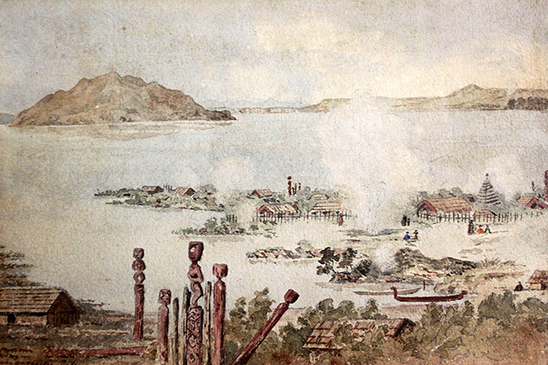 HOT PROPERTY: Sir Frederick Weld's watercolour of Lake Rotomahana, destroyed by the eruption of Mt Tarawera in 1886.