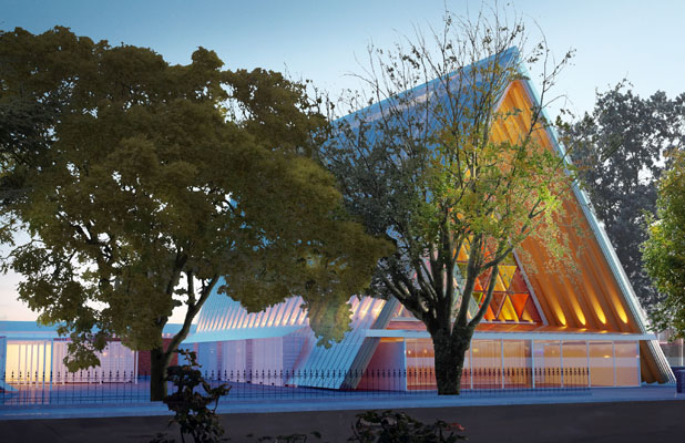 PLACE OF WORSHIP: An artist's rendering of the cardboard cathedral.