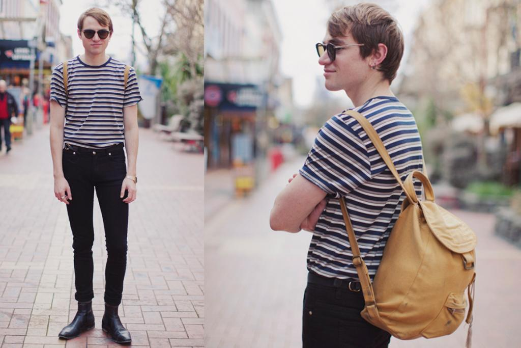 Tom, photographed on Cuba St, Wellington, wearing ASOS t-shirt, jeans and backpack, with leather shoes from Trade Me and borrowed sunglasses.