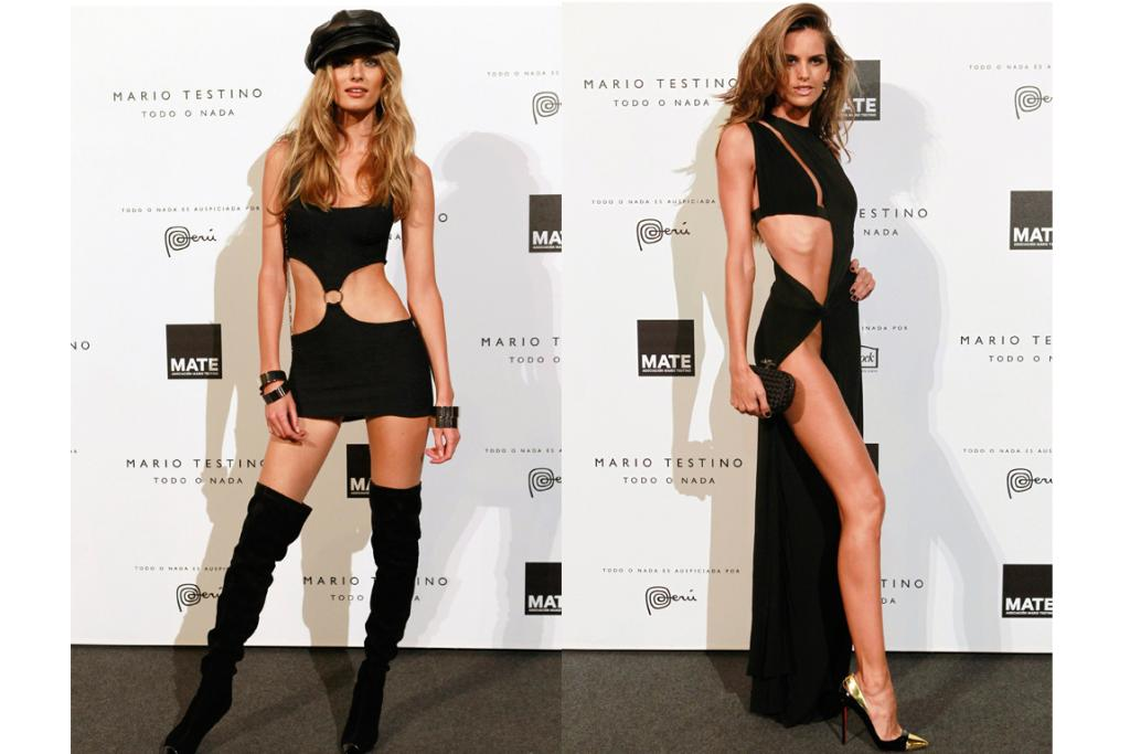 Models Edita Vilkeviciute, left, and Izabel Goulart, right, show the world what they had for breakfast in these barely-there dresses.