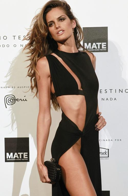 Model Izabel Goulart in a skin-baring dress by Anthony Vaccarello.