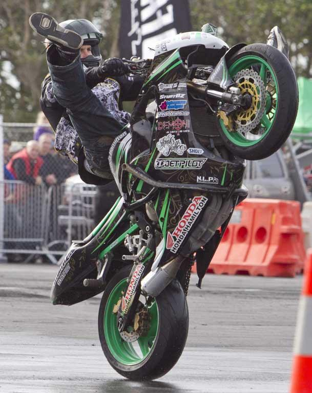 Nick Kroeze stunt rider struts his stuff at the CRC Speedshow.