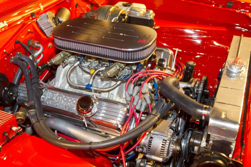 A 1968 Pymouth Barracudqa with a Mopar 496ci engine under the hood on display at the CRC Speedshow.