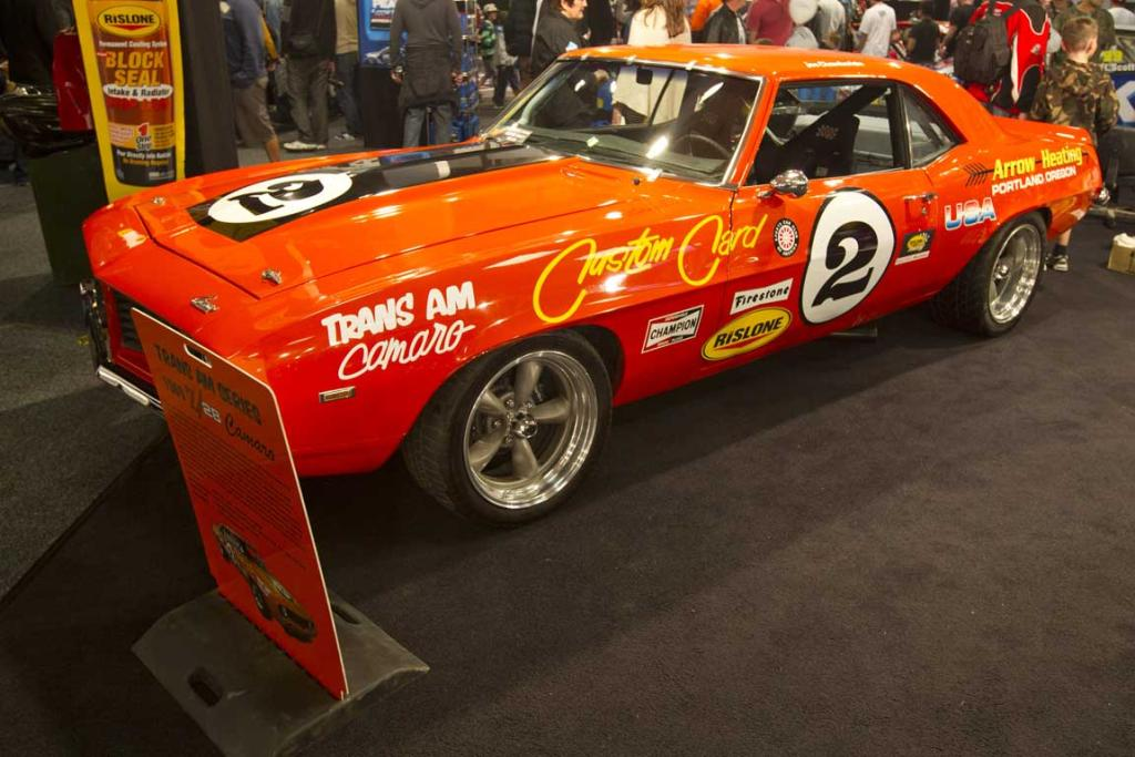 A 1969 Chev Camaro Z28 Trans Am race car owned by Tony Antonievich on display at the CRC Speedshow.