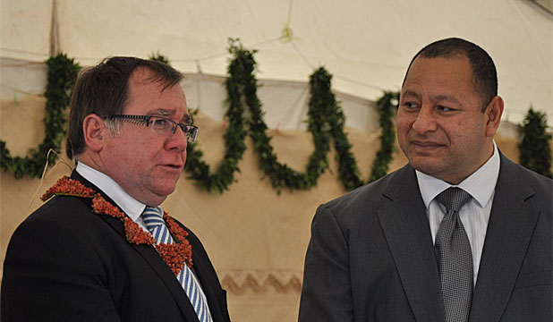 CLOSE TIES: Foreign Affairs Minister Murray McCully with Tongan King Tupou VI at the official opening of the Maama Mai Solar Generation Facility.