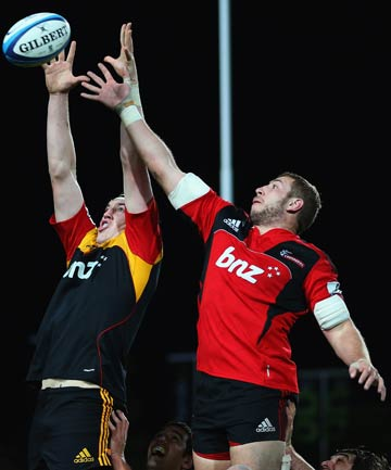 UP FOR IT: Chiefs lock Brodie Retallick competes against Crusader Luke Romano.