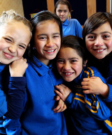New Plymouth Maori immersion school students