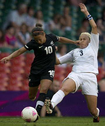 ROOM FOR IMPROVEMENT: Sarah Gregorious in action in the Football Ferns opening match of the Olympics.