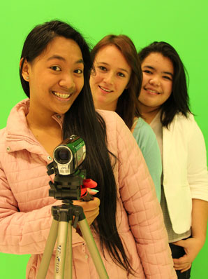 AND, ACTION: These year 12 Albany Senior High students, from left: Queenie Jose, Jasmine Thornton and Eivonne Sampang are interviewing some of New Zealand's most famous media personalities for their documentary about life behind the scenes.