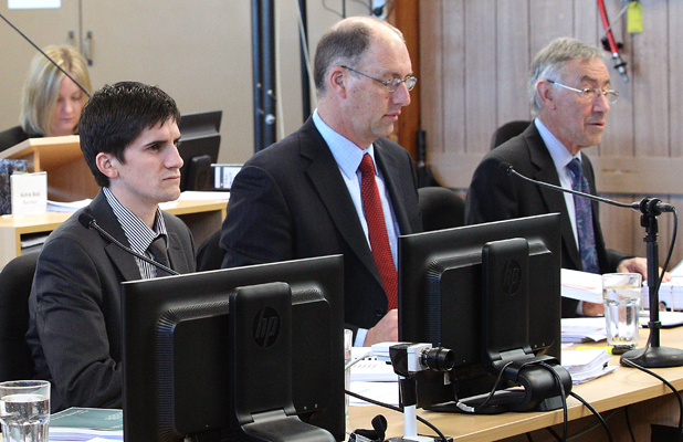 'MINOR' DAMAGE: Brendon Bradley, Ashley Smith and Athol Carr give evidence at a royal commission hearing today.