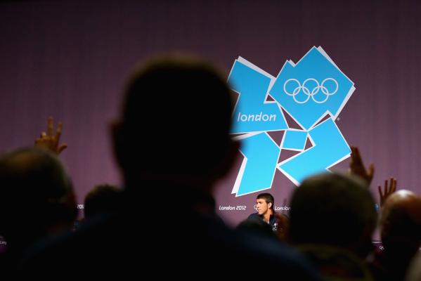 Michael Phelps speaks during a press conference at the London Olympics.