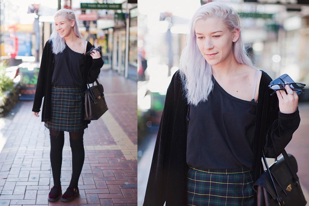 Tess, snapped on Wellignton's Cuba St, wearing Doc Marten shoes and a vintage ensemble.