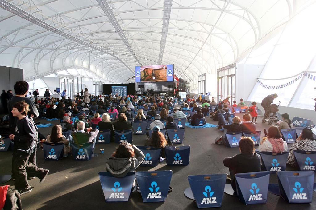 Fans gather at The Cloud to watch the Olympics opening ceremony.