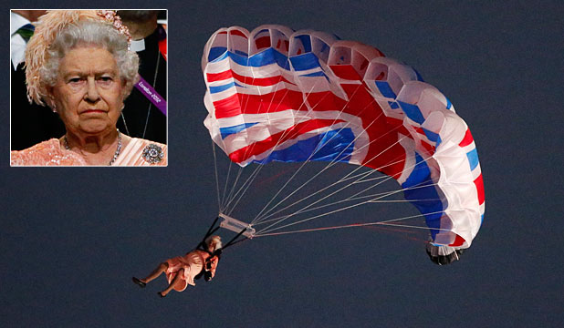 ANOTHER DAY AT THE OFFICE: A stunt double dressed as the Queen parachutes towards the Olympic stadium in London. Inset: The Queen put on a poker face as she arrived at the stadium.