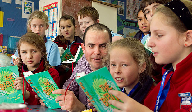 HEAVENS ABOVE: Teacher Simon Greening leads Bible class at Owairoa Primary in Howick.