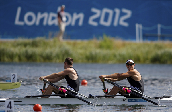 Nathan Cohen and Joseph Sullivan row during the men's rowing double sculls heat