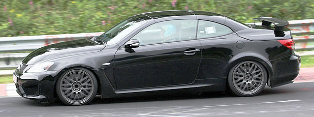 The Lexus IS-F convertible as seen on a test around the Nurburgring.
