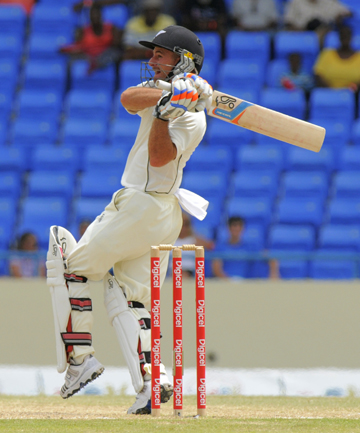 FIGHTING BACK: Black Caps wicketkeeper-batsman Kruger van Wyk executes a pull shot during the first test against the West Indies at the Sir Vivian Richards Stadium in Antigua.