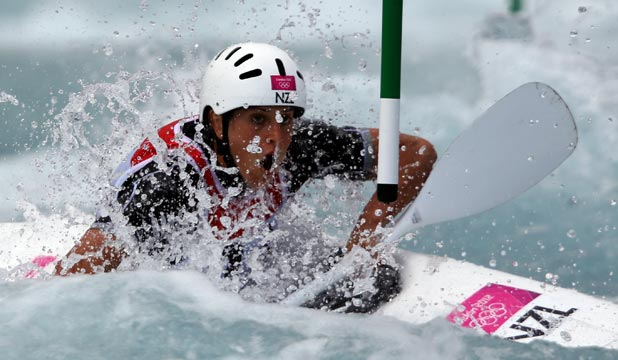 BY THE SKIN OF THE TEETH: A best time of 109.23sec, including penalties, was just enough for New Zealand's Luuka Jones to reach the canoe slalom semifinals, grabbing the 15th and final spot.