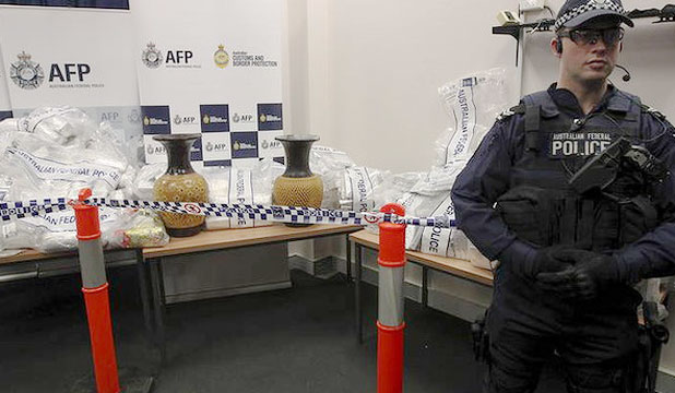 HUGE HAUL: Some of the drugs seized by Australian Federal police on display.