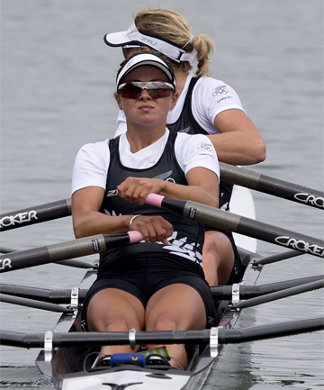 GOOD RESULT: New Zealand's Julia Edward (left) and Louis Ayling came in second in the repechage of the women's lightweight double sculls.