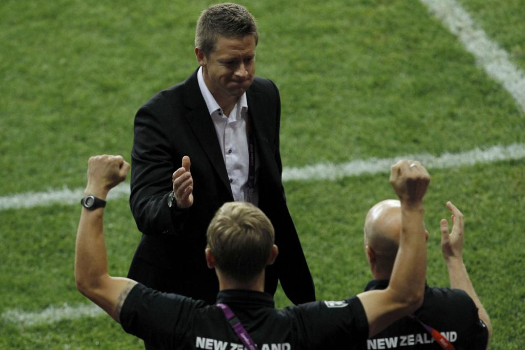 New Zealand coach Tony Readings after his side's women's football win against Cameroon at the City of Coventry Stadium during the London Olympics.