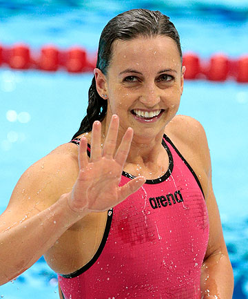 Rebecca Soni of the US reacts after she finished first and set a new world record in the second semifinal  of the women's 200m breaststroke at the London 2012 Olympic Games.