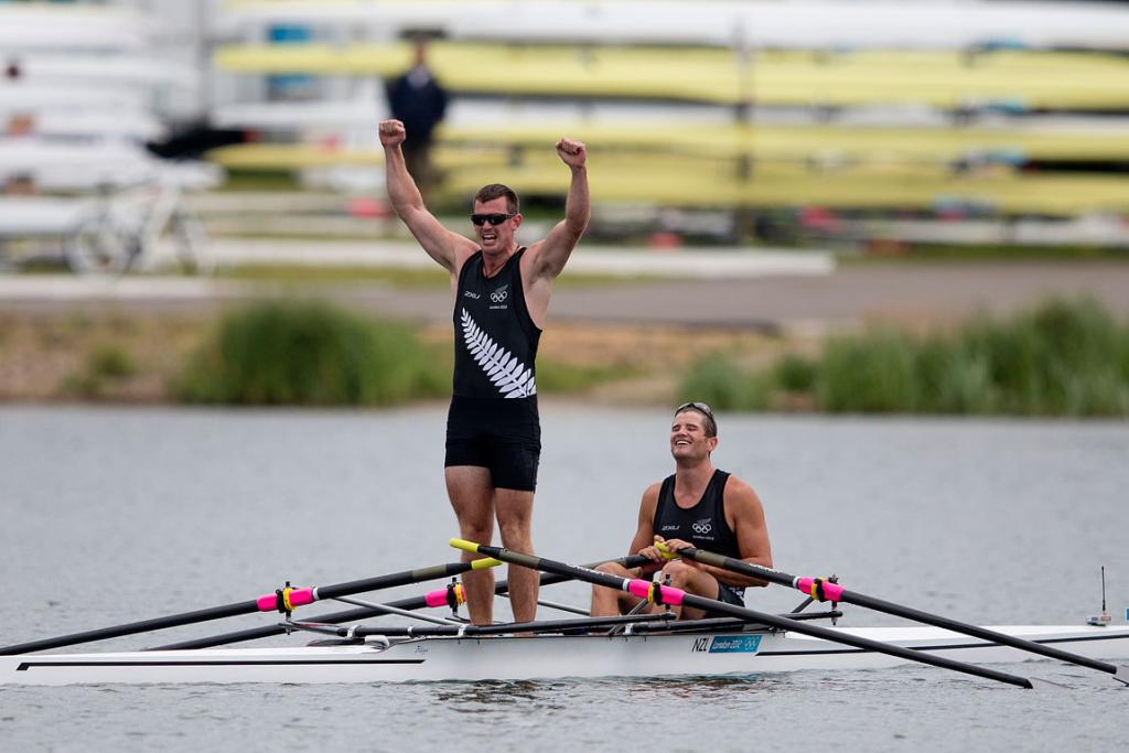 New Zealand's Nathan Cohen and Joseph Sullivan celebrate their gold medal.