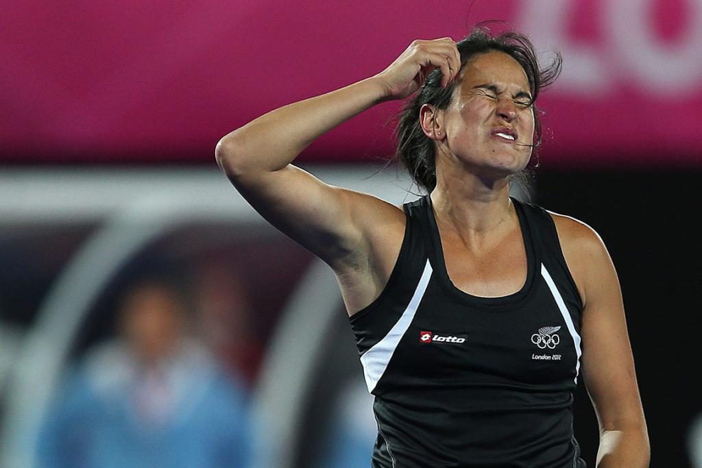 New Zealand's Kayla Sharland just misses a shot on goal against Argentina at the London Olympics.