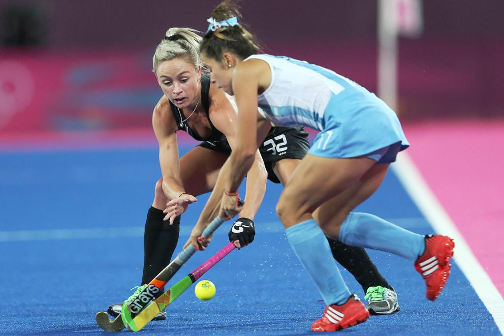 New Zealand's Anita Punt battles for the ball against Argentina at the London Olympics.