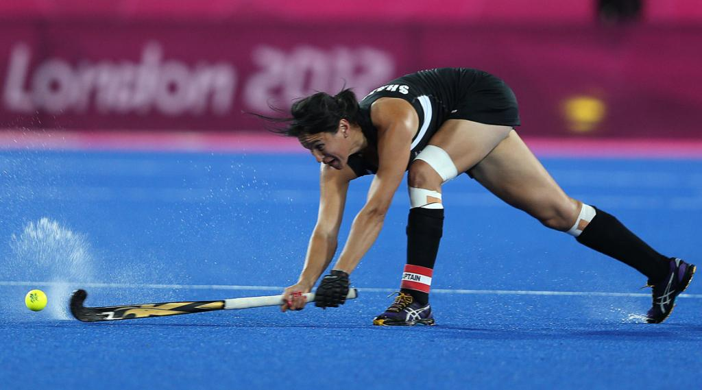 New Zealand captain Kayla Sharland goes for goal against Argentina at the London Olympics.