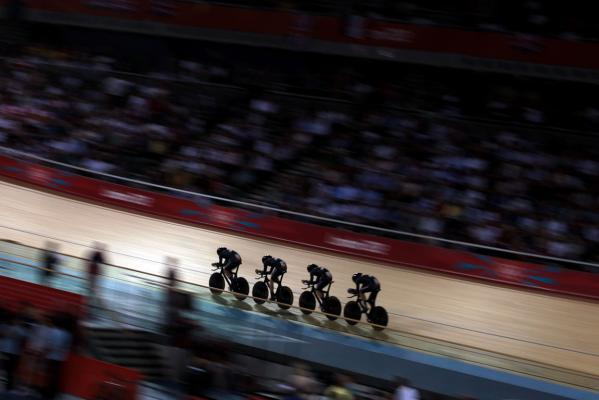 New Zealand's men's pursuit team in action at the London Olympics.