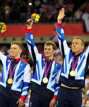 Philip Hindes, Jason Kenny and Sir Chris Hoy of Great Britain