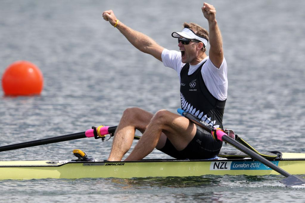 Mahe Drysdale wins gold in his final in the men's single sculls at Eton Dorney.