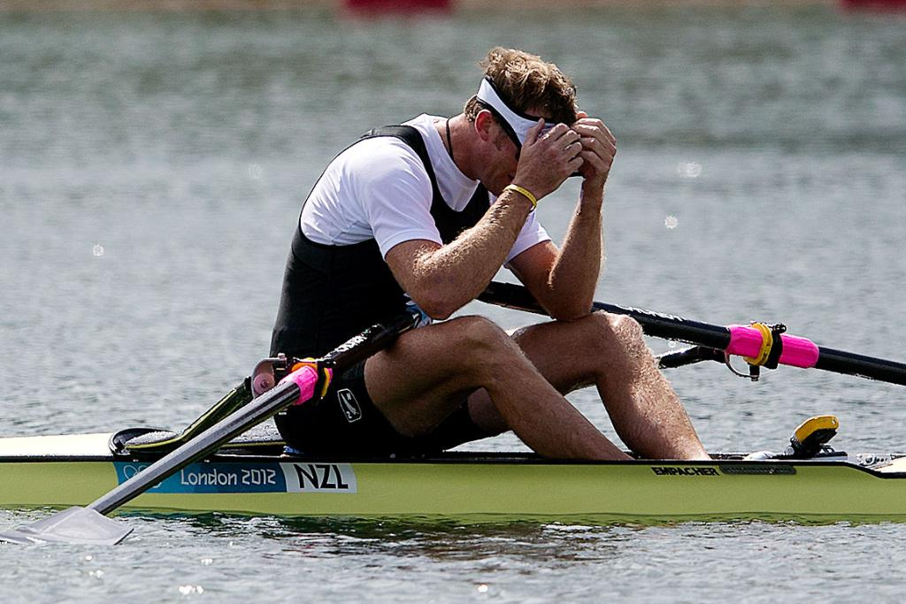 Mahe Drysdale feels the agony once more but with gold this time at the London Olympics 2012.