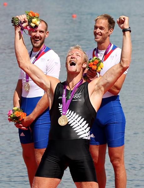 Eric Murray celebrates after winning gold in the men's pair at Eton Dorney.