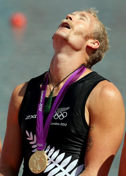 Eric Murray show the relief after winning gold in the men's pair at Eton Dorney.