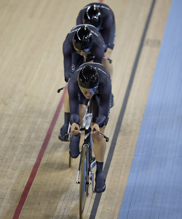 UPHILL BATTLE: The women's team pursuit team will have to produce their best if they are to make the bronze medal race.