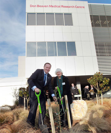 DIABETES FIGHT: Prime Minister John Key and Lady Beaven planted a tree at the Don Beaven Medical Research Centre.