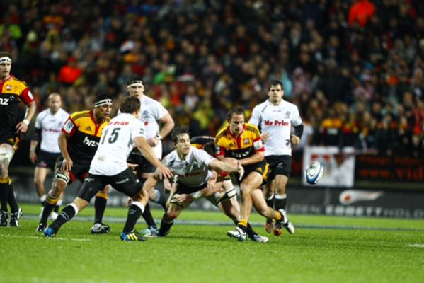 Action from the Super Rugby final at the Waikato Stadium.