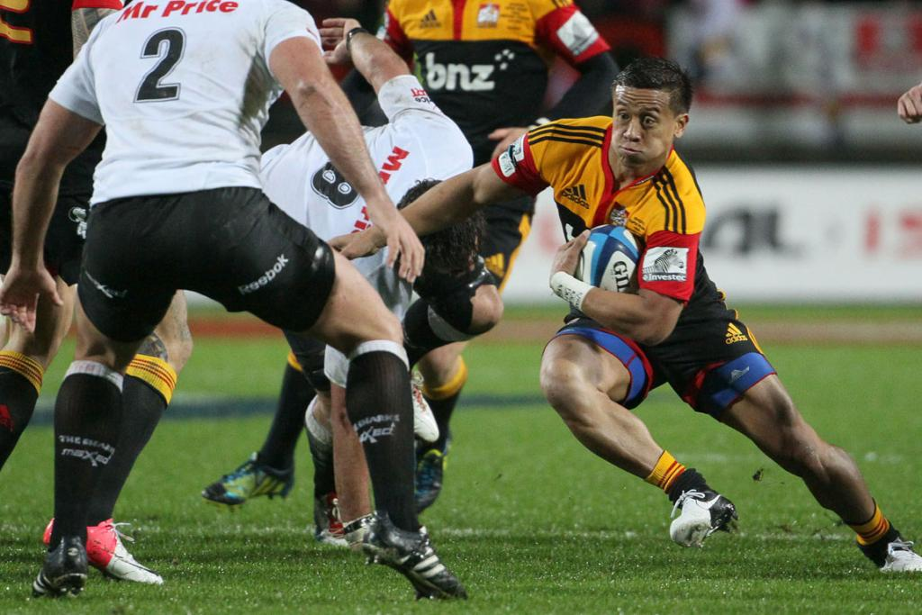 Chiefs right wing Tim Nanai-Williams on the burst against the Sharks at Waikato Stadium.