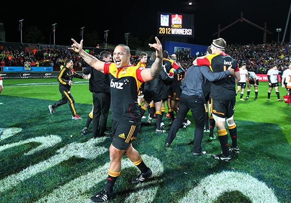 Chiefs celebrate after winning the Super Rugby championship.